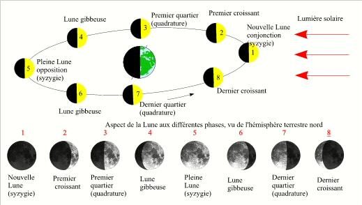 le mouvement de la lune autour de la terre