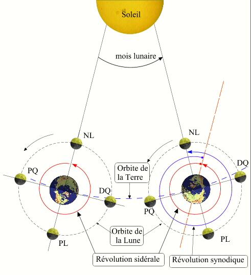 vitesse de rotation de la lune